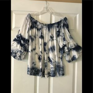 Seven7 Brand Tie Dye Tiered Ruched Sleeve Top